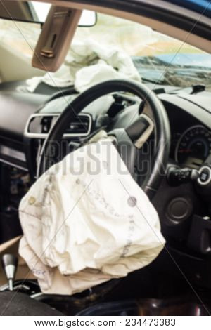 Blur Of Airbag Exploded At A Car Accident,car Crash Air Bag,airbag Work