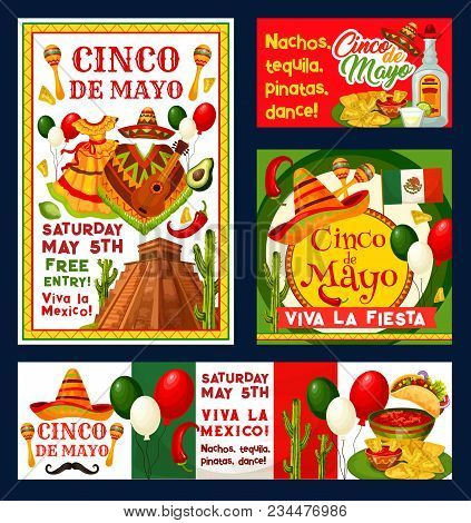 Cinco De Mayo Mexican Holiday Fiesta Invitation Cards For Free Entry To Party Celebration. Vector Ci