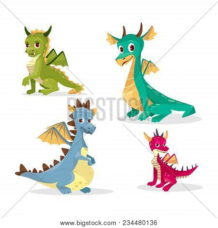Cartoon Dragons Vector Illustration For Kid Or Children Funny Design. Flat Isolated Set Of Cute Fair