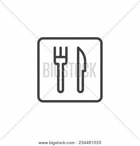 Fork And Knife Outline Icon. Linear Style Sign For Mobile Concept And Web Design. Restaurant Line Ve