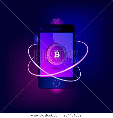 Mobile Bitcoin Payment Concept. Mobile Cryptocurrency. Blockchain Integration. Bitcoint Payment, Tra