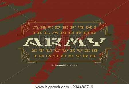 Geometric Stencil-plate Serif Font In Military Style. Letters And Numbers For Sci-fi, Military, Cosm