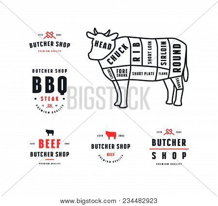 Stock Vector Beef Cuts Diagram And Label For Butcher Shop. Color Print On White Background
