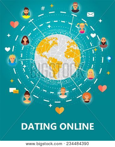 Dating Online Concept Vector Illustration. People All Over The World Connecting Together, Dating, Ch