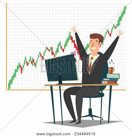 Stock Market, Investment And Trading Concept Vector Illustration. Candlestick Chart And Successful B
