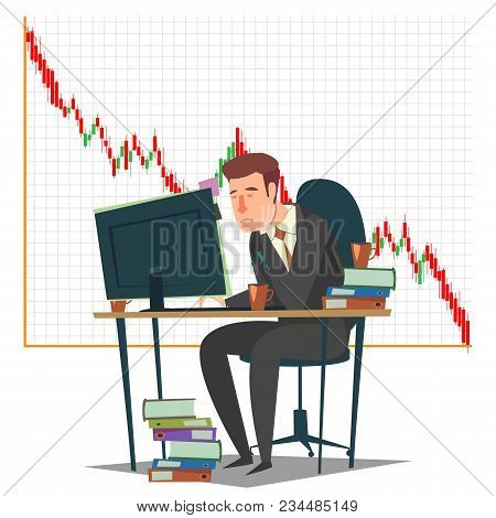 Stock Market, Investment And Trading Concept Vector Illustration. Candlestick Chart And Sad Business