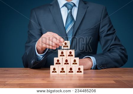 Human Resources, Corporate Hierarchy Concept And Multilevel Marketing - Recruiter Complete Team Repr