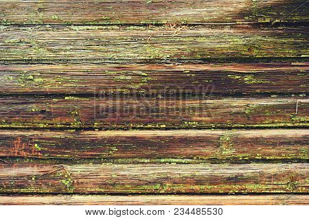 Old Wooden Background Painted Green Paint With Cracks. Wooden Background.
