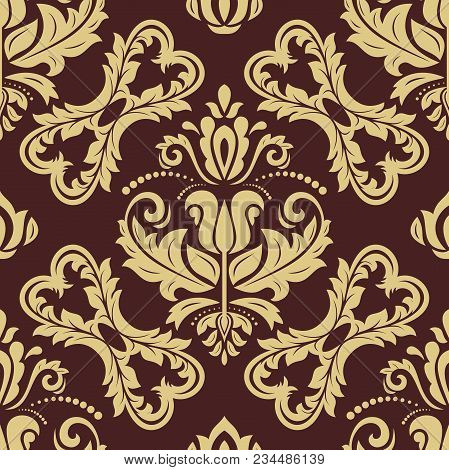 Classic Seamless Vector Pattern. Damask Orient Black And Golden Ornament. Classic Vintage Background