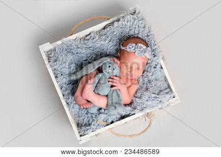 Newborn girl hugging toy while sleeping
