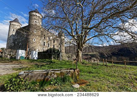 Jarrie, France, April 1st, 2018 : The Castle Of Bon Repos Is A Former Strong House Of Xv Century. Ca