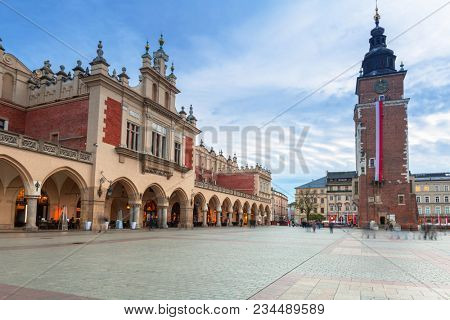 Krakow, Poland - November 12, 2017: Architecture of The Krakow Cloth Hall at dusk, Poland. Krakow is the second largest and one of the oldest cities in Poland.