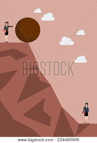 Business Woman Pushing Heavy Stone To Her Enemy. Business Concept