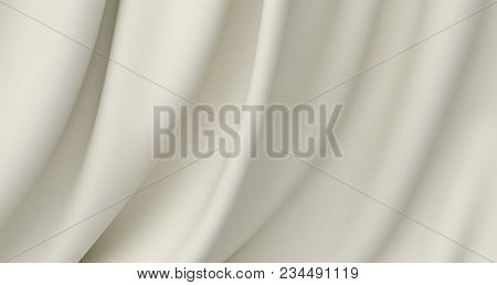 Beautiful White Silk. Drapery Textile Background. Abstract Soft Elegant Satin