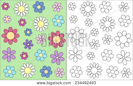 Stylized Outline Flower Head Spring Child Colouring Book Card, Vector Eps10