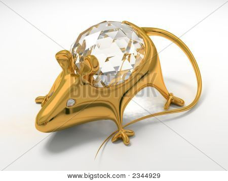 Gold jewelry decoration mouse with diamond saphire poster