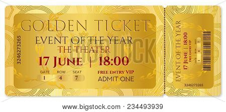 Golden Ticket, Golden Token (tear-off Ticket, Coupon) With Curve Pattern. Useful For Any Festival, P