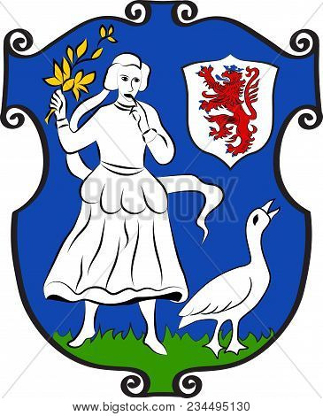 Coat Of Arms Of Monheim Is A Town On The Eastern Bank Of The River Rhine In North Rhine-westphalia,
