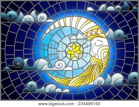 Illustration In Stained Glass Style With Moon On Cloudy Sky Background, Horizontal Orientation