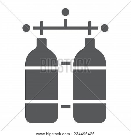 Oxygen Tank Glyph Icon, Diving And Underwater, Dive Tank Sign Vector Graphics, A Solid Pattern On A