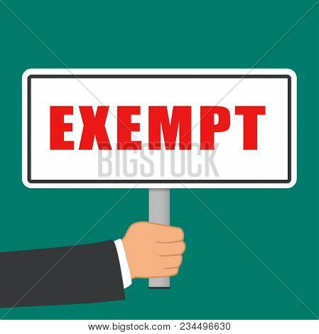 Illustration Of Exempt Word Sign Flat Concept