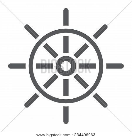 Ship Steering Wheel Glyph Icon, Navigator And Geography, Travel Sign Vector Graphics, A Solid Patter