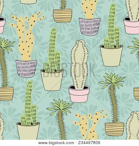 Vector Hand Drawn Seamless Cactus Pattern Background