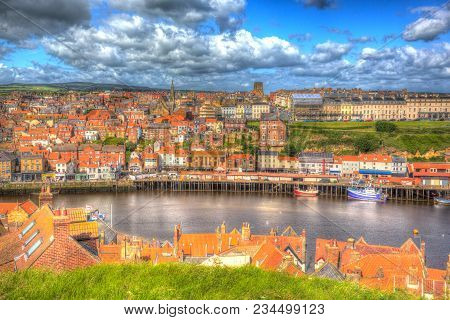 Whitby North Yorkshire Uk Town And Quayside With Boats And Buildings In Colourful Hdr