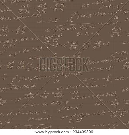 Seamless Pattern On The Theme Of The Subject Of Mathematics, Formulas, Theorems , Beige Outline On A