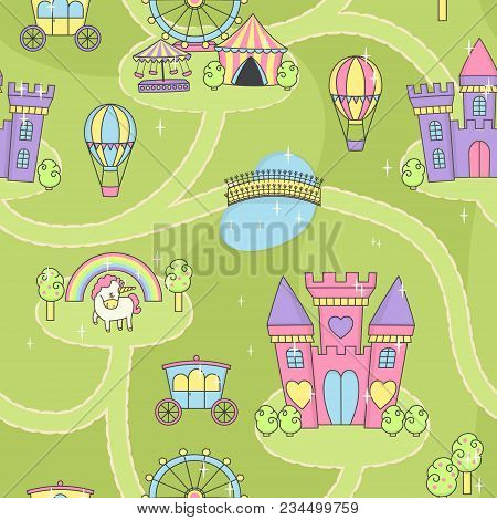 Fantasy Fairy Tale World Princess Castle Play Mat Activity Game For Girls. Daydream Imagination Stor