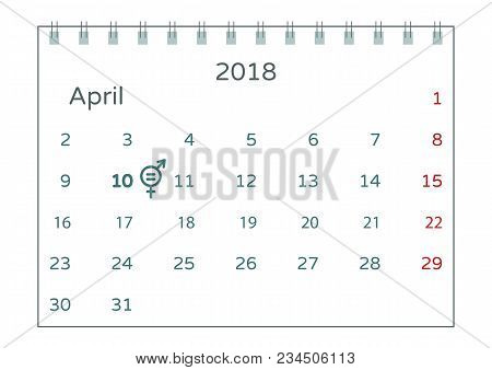 Vector Illustration Of Equal Pay Day On Second Tuesday In April. A Calendar With The Symbol Of Raisi