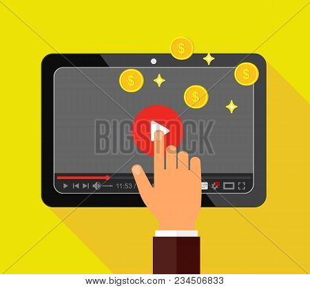 Video Monetization Concept. Making Money From Video Content. Vector Illustration.