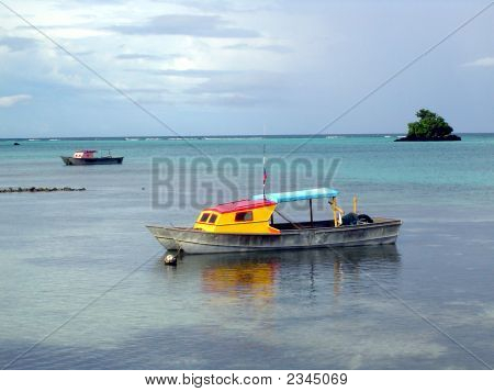 Small Boat Offshore In Samoa