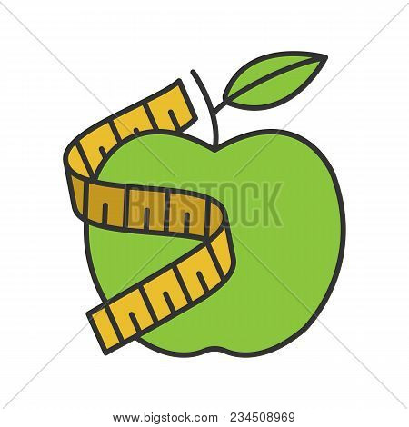 Measuring Tape Around Apple Color Icon. Healthy Nutrition. Dieting. Isolated Vector Illustration