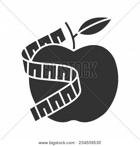 Measuring Tape Around Apple Glyph Icon. Silhouette Symbol. Healthy Nutrition. Dieting. Negative Spac