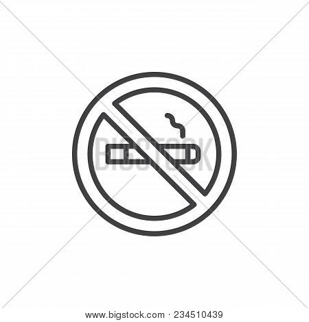 No Smoking Outline Icon. Linear Style Sign For Mobile Concept And Web Design. Stop Smoking Simple Li