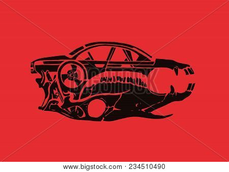 The Car And The Horse Is Skull On A Red Background. Luxury Vintage. Car And Automotive, Sports, Tatt
