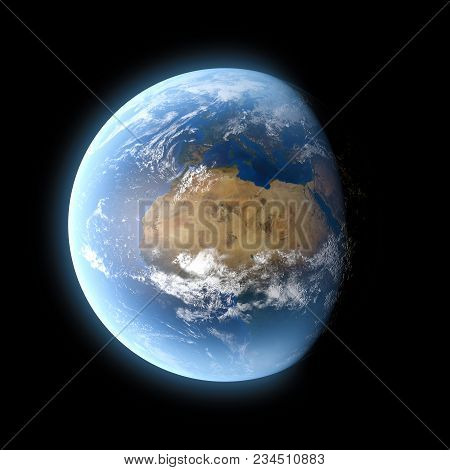 3d Illustration - Planet Earth Isolated On White Background With Nasa Images.