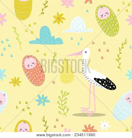 Baby Shower Seamless Pattern With Cute Stork And Newborn Child. Baby Background For Decoration, Wall
