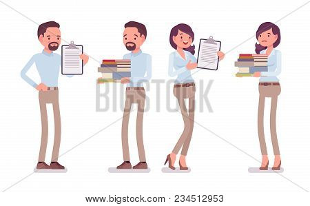 Smart Middle Aged Man, Woman In Buttoned Up Shirt, Camel Skinny Chino Trousers, Standing With Paper