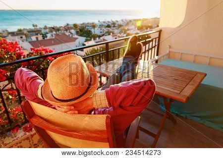 Young Man Relax On Scenic Balcony Terrace, Comfort, Laziness Concept