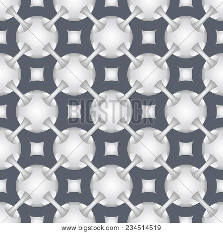 Geometric Line Ball Tunnel Connections Pattern Seamless Background Vector Illustration