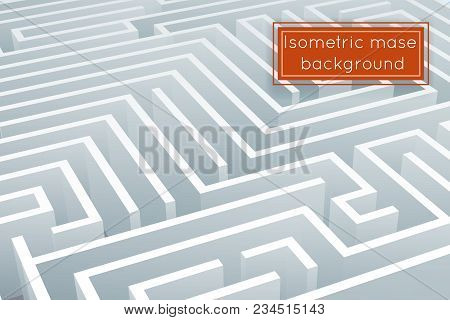 Maze Intricacy Labyrinth Isometric Background Design 3d Template Vector Illustration