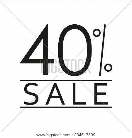 40% Sale. Price Off Icon With 40 Percent Discount. Vector Illustration.