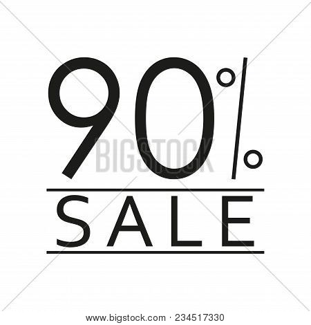 90% Sale. Price Off Icon With 90 Percent Discount. Vector Illustration.