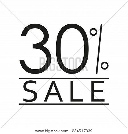 30% Sale. Price Off Icon With 30 Percent Discount. Vector Illustration.