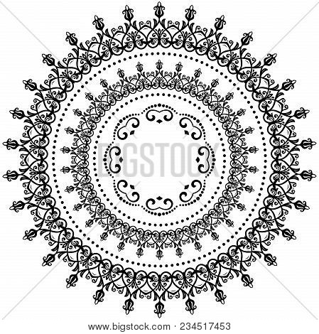 Oriental Round Pattern With Arabesques And Floral Elements. Traditional Classic Black And White Orna