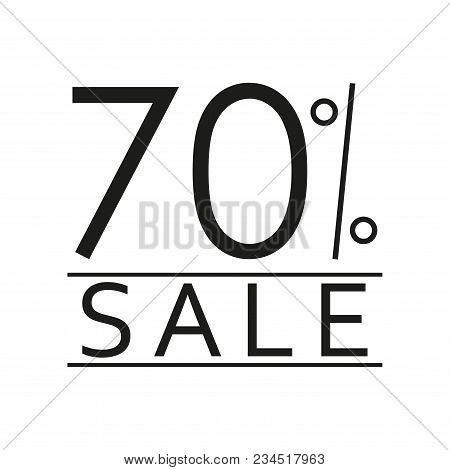70% Sale. Price Off Icon With 70 Percent Discount. Vector Illustration.