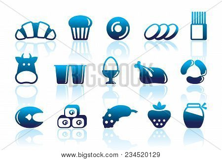 Icons Of Various Kinds Of Food With Reflexions