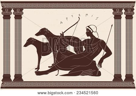 Ancient Greek Goddess Artemis With A Bow And Arrows Is In The Tunic And Two Dogs. Drawing On A Beige